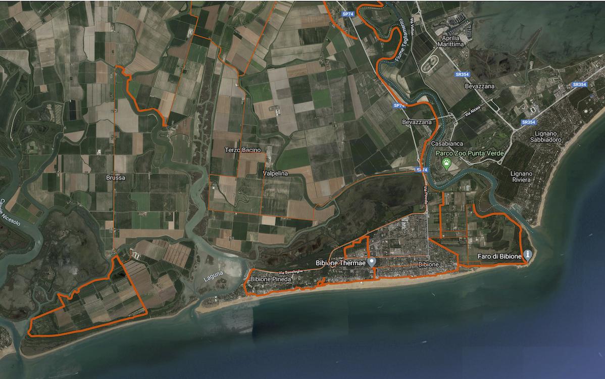 bibione piste ciclabili cicloturismo google maps