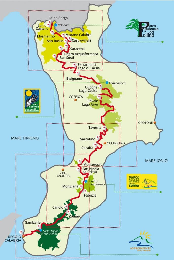cartina ciclovia dei parchi calabria