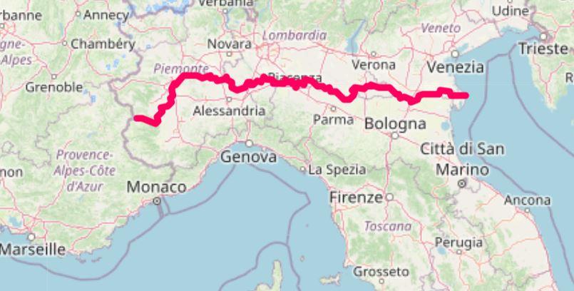 ciclovia fiume po itineraria molvimento lento cicloturismo mappa